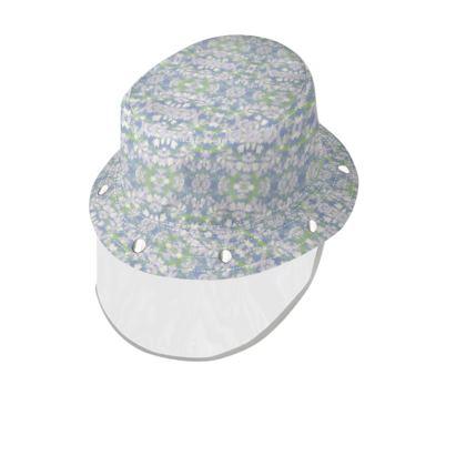 Bucket Hat With Visor [child size], Blue, Green, Botanical  Laced Leaf  Evening Glow