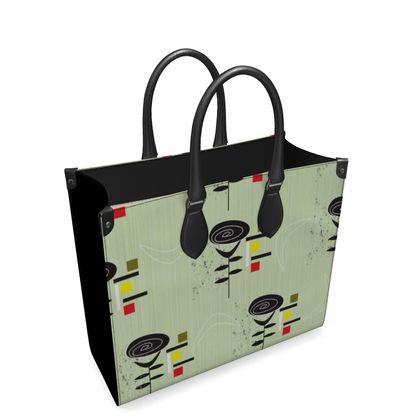 Mid Century Boomerang Rose Leather Shopper handbag
