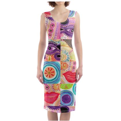 Bodycon Dress with repetitive vibrant playful color rhythm