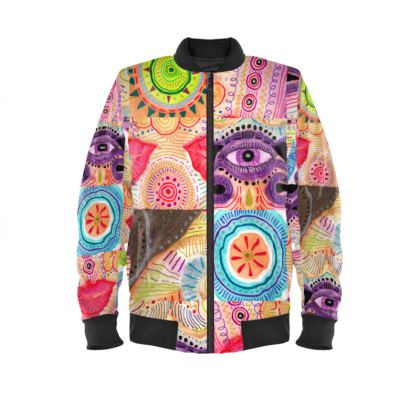 Ladies Bomber Jacket with repetitive vibrant playful rhythm of color