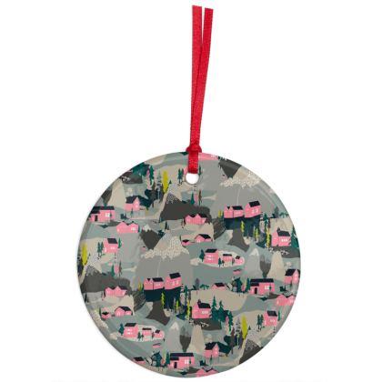 Snowy Scandi Village Christmas Ornaments
