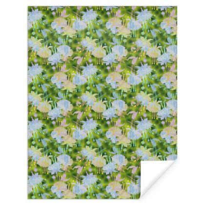 Gift Wrap, Green, Blue, Floral,  Fuchsias  Newt