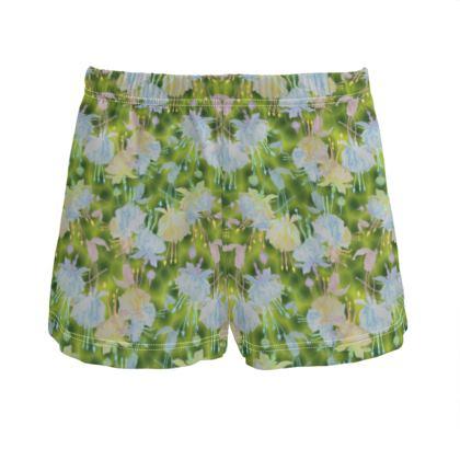 Ladies Silk Pyjama Shorts, Green, Blue  Fuchsias  Newt