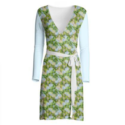 Wrap Dress Green, Blue, Floral,  Fuchsias  Newt