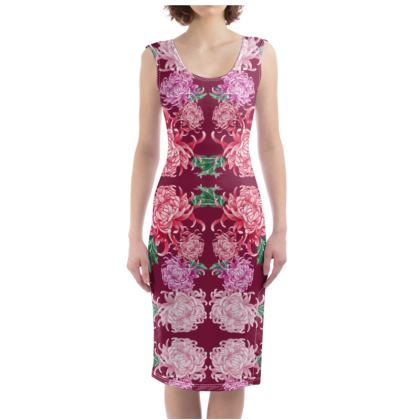 Wine Chrysanthemum Dress