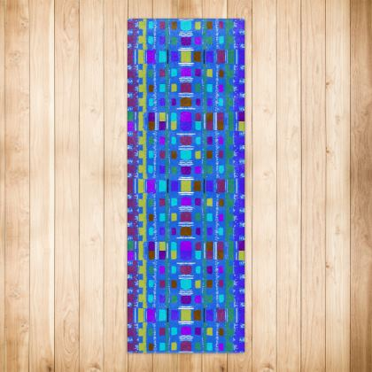 Blue Lattice Pattern Runner Rugs
