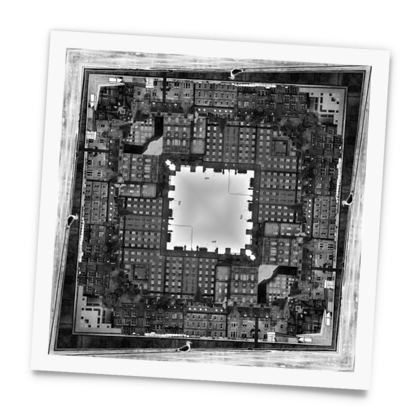 Square Photo Prints Black and White, Edinburgh Old Town, Scotland