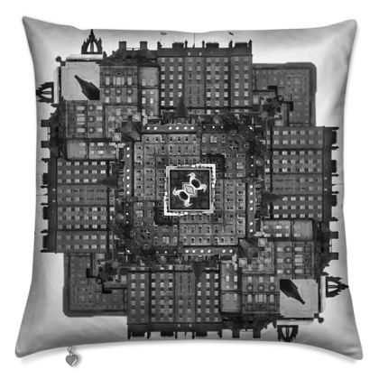 Cushions World of Edinburgh, Scotland in Black and White
