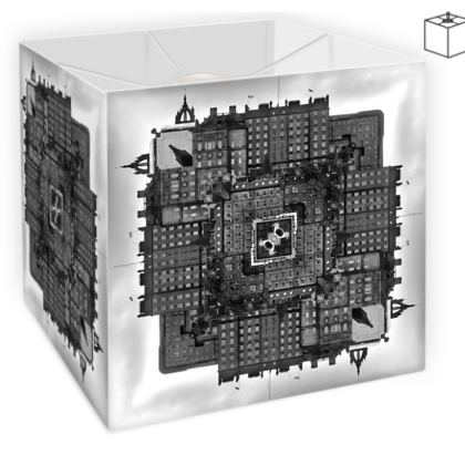 Square Lamp Shade, World of Edinburgh, Scotland in Black and White