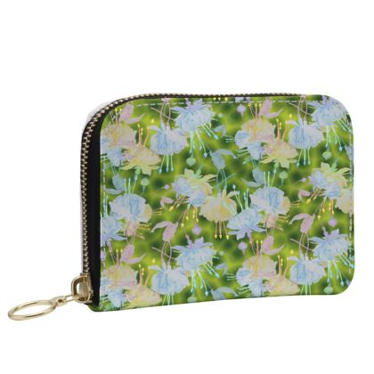 Small Leather Zip Purse, Green, Blue, Floral,  Fuchsias  Newt