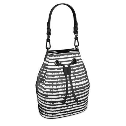 French Urban Style Bucket Bag, Black&White Stripes