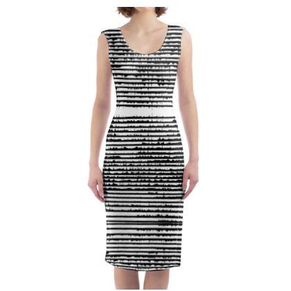 Frenchy stripy Bodycon Woman Dress, Black&White