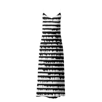 French Style black and white striped Slip Dress