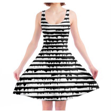Black and white stripy Skater Dress