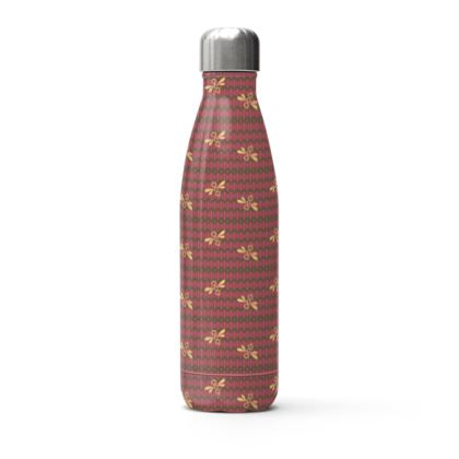 Field of Bees Floral Pink Water Bottle