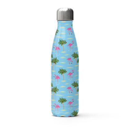 Tropical Flamingos [Blue] Water Bottle