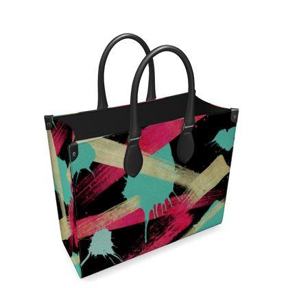 Leather Shopper Bag Graffiti Glow