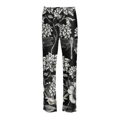 Ladies Silk Pyjama Bottoms Black and White Nature Garden