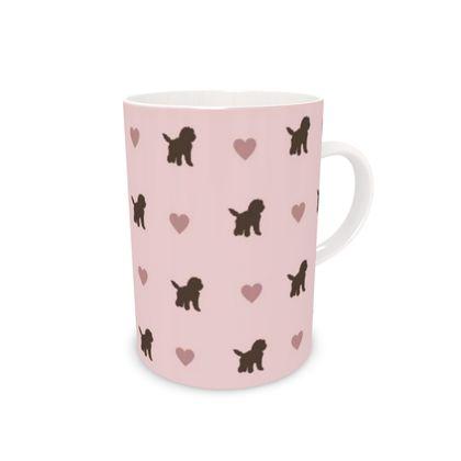 Chocolate Cockapoo on pink,Bone China Mug