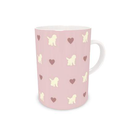 Cream Cockapoo on pink Bone China Mug