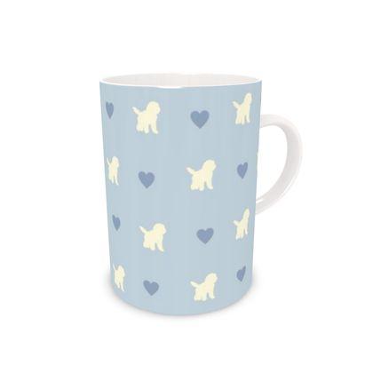 Cream Cockapoo on blue Bone China Mug