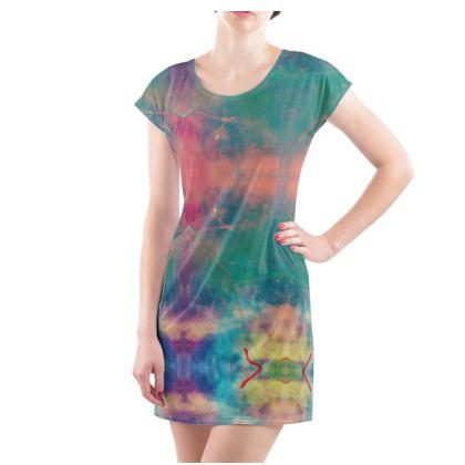 Ladies Tunic T Shirt - Emmeline Anne Colourful Clouds