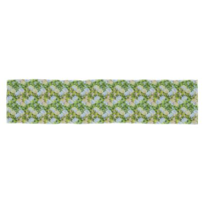 Scarf, [135 cm x 31 cm, shown in Silk Sensation] Green, Blue, Floral  Fuchsias  Newt