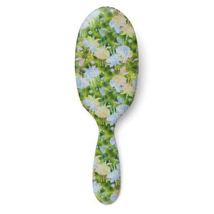 Hairbrush Green, Blue, Floral  Fuchsias  Newt