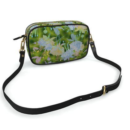 Camera Bag Green, Blue, Floral  Fuchsias  Newt