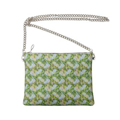 Crossbody Bag With Chain,  Green, Blue  Fuchsias  Newt