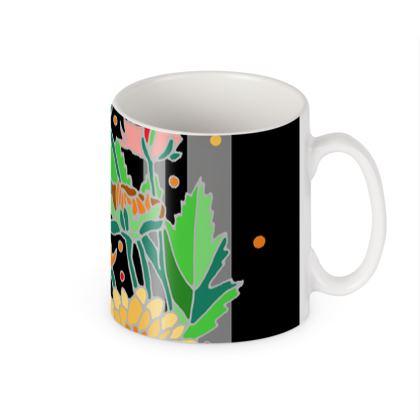 Chrysanthemum Dark Stripe Ceramic Mug