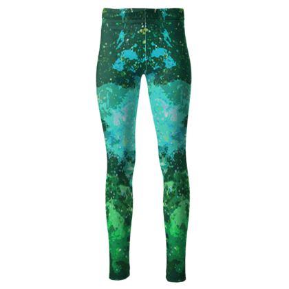 High Waisted Leggings - Jade Nebula Galaxy Abstract