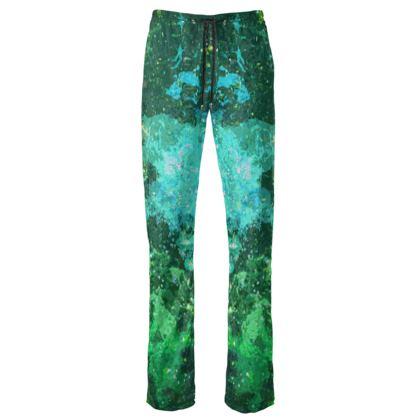 Womens Trousers - Jade Nebula Galaxy Abstract