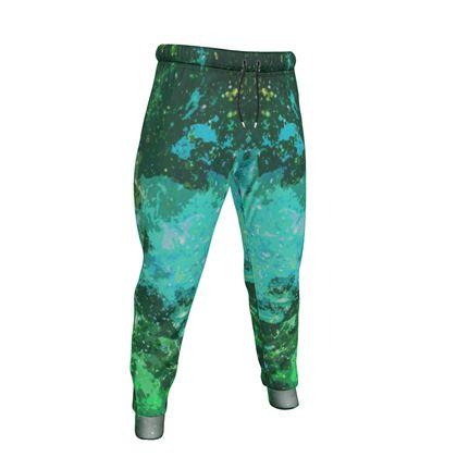 Mens Jogging Bottoms - Jade Nebula Galaxy Abstract