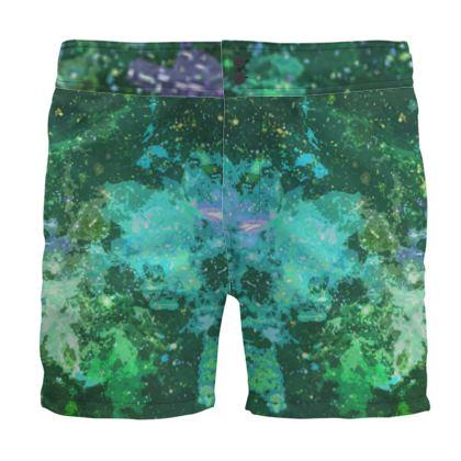 Board Shorts - Jade Nebula Galaxy Abstract