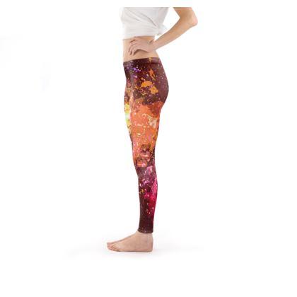 Leggings - Orange Nebula Galaxy Abstract