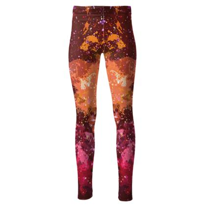 High Waisted Leggings - Orange Nebula Galaxy Abstract