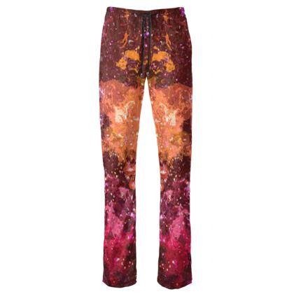 Womens Trousers - Orange Nebula Galaxy Abstract