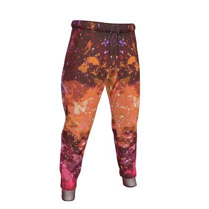 Mens Jogging Bottoms - Orange Nebula Galaxy Abstract
