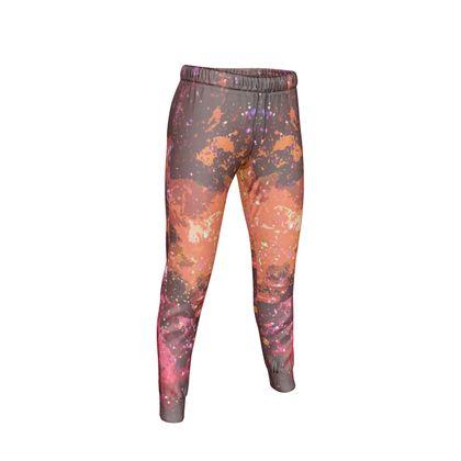 Womens Jogging Bottoms - Orange Nebula Galaxy Abstract