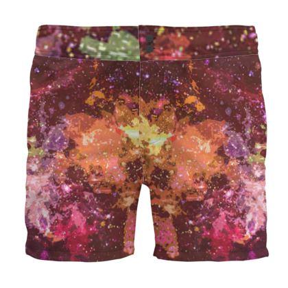 Board Shorts - Orange Nebula Galaxy Abstract