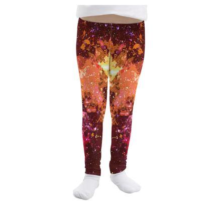 Girls Leggings - Orange Nebula Galaxy Abstract