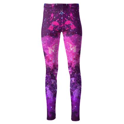 High Waisted Leggings - Pink Nebula Galaxy Abstract