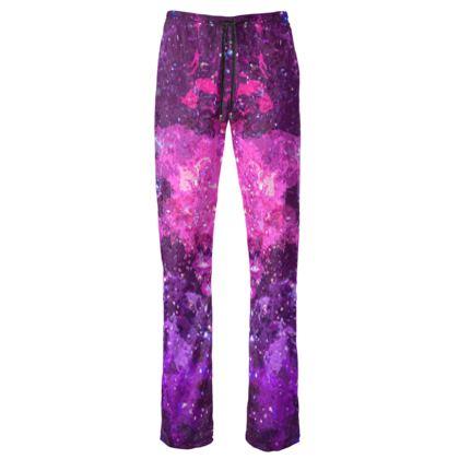 Womens Trousers - Pink Nebula Galaxy Abstract