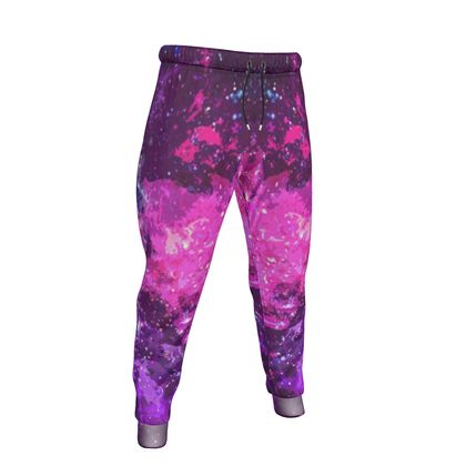 Mens Jogging Bottoms - Pink Nebula Galaxy Abstract