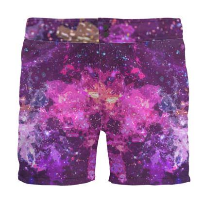Board Shorts - Pink Nebula Galaxy Abstract