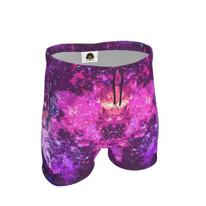 Mens Sweat Shorts - Pink Nebula Galaxy Abstract