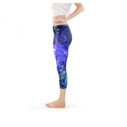 Capri Leggings - Purple Nebula Galaxy Abstract