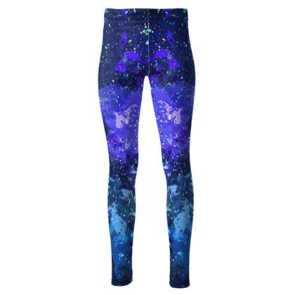 High Waisted Leggings - Purple Nebula Galaxy Abstract