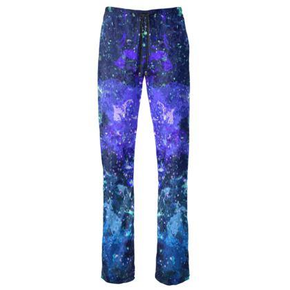 Womens Trousers - Purple Nebula Galaxy Abstract
